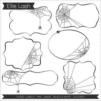 Spider Labels Digital Clipart
