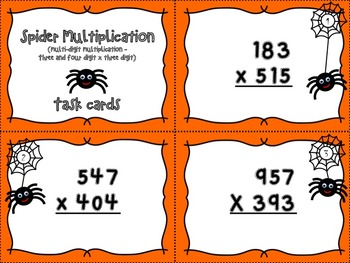 Spider Multiplication - Three and four digit x three digit