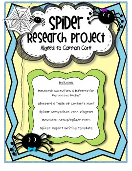 Spider Research Project (Common Core Aligned)