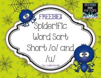 Spiderific Words: Short /o/ & /u/ Word Sort Freebie