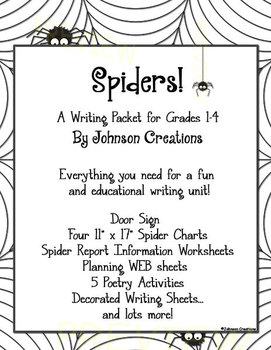Spiders! A Writing Packet for Grades 1-4