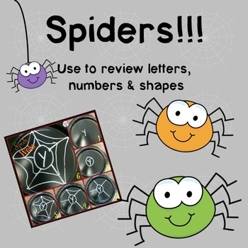 Spiders!!: A review activity for letters, numbers & shapes