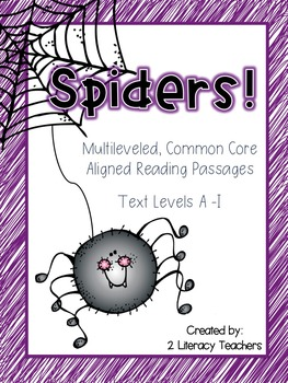 Spiders! CCSS Aligned Leveled Reading Passages and Activities