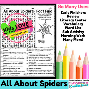 Spiders: All About Spiders Reading and Word Search Activity