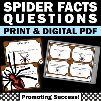 Spider Facts Task Cards Halloween Games & Activities ~ Arachnids