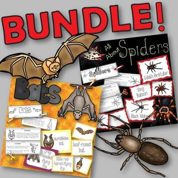 Spiders and Bats BUNDLE Books to Create, Matching Cards, a