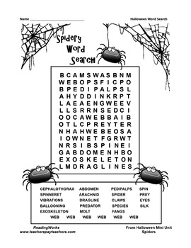 "FREE ""Spidery"" Word Search"