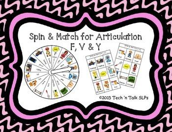 Spin & Match for Articulation F, V, & Y