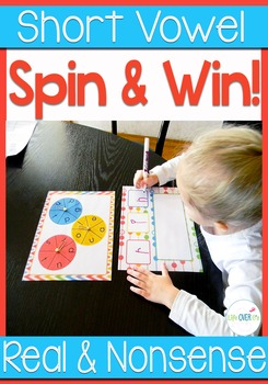 CVC Real and Nonsense Words Spin & Win with assessment pages