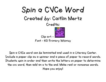 Spin a CVCe Word