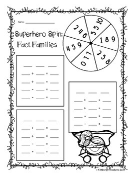Superhero Spinner - Fact Families / Basic Facts Differenti