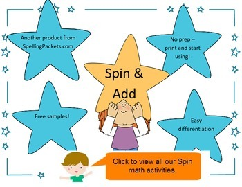 Spin and Add activity - NO PREP math spin and addition she