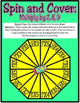 Spin and Cover: Multiply by 7, 8, 9