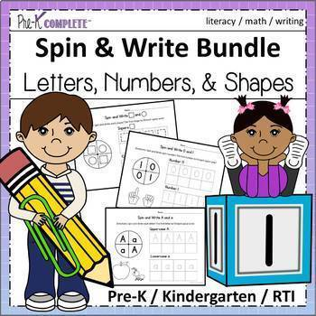 Spin and Write Bundle - Letters, Numbers, Shapes -No Prep