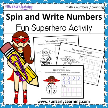 Spin and Write Numbers with Superheroes - No Prep Interact