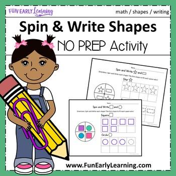 Spin and Write Shapes - No Prep Interactive Worksheets