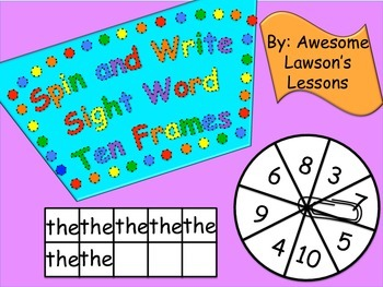 Spin and Write Sight Word Ten Frames