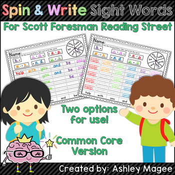 Spin and Write Sight Words (First Grade Reading Street Com