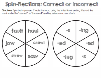 """Spin-flections: """"aw"""" sound words and inflected endings"""
