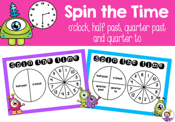 Spin the Time - o'clock, half past, quarter past and quarter to