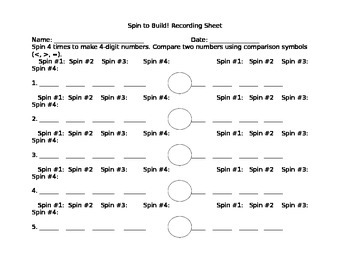 Spin to Build! Recording Sheet-4 Digit Numbers