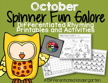 Spinner Rhyming Fun For October-Differentiated/Aligned Pri