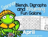 Spinner Word Work for April- Digraphs, Blends and Rhyming