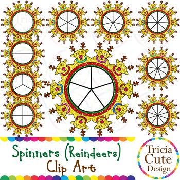 Spinners Christmas Clip Art – Reindeer Glitter