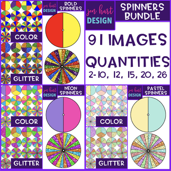 Spinners Clip Art - Bundle {Neon, Bold, & Pastel}
