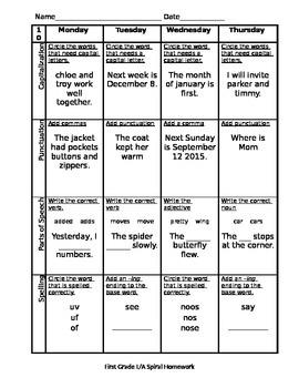Spiral Language Arts Homework - Part 2 *100% Editable*