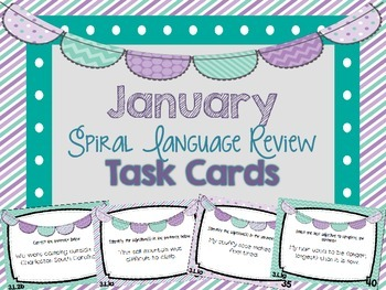 Spiral Language Arts Review Task Cards - January