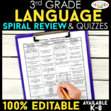 Third Grade Language Homework ENTIRE YEAR } EDITABLE