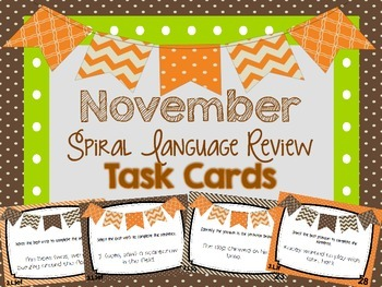 Spiral Language Review Task Cards-November FREE