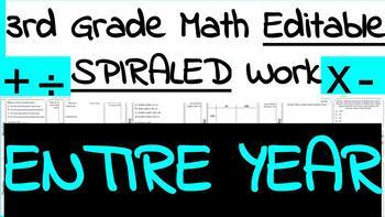 3rd Grade Math Weekly Spiraled Work
