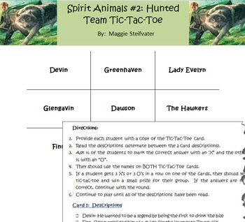 Spirit Animals Book #2: Hunted- Character & Places Tic-Tac