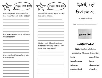 Spirit of Endurance Trifold - Treasures 5th Grade Unit 4 W
