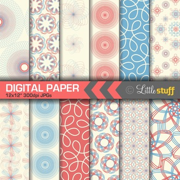 Spirograph Digital Papers, Red & Blue Spiral Digital Backgrounds