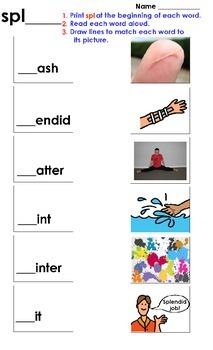 Spl cluster matching worksheet.