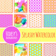 Splashy Watercolor Paint Background / Digital Papers Clip