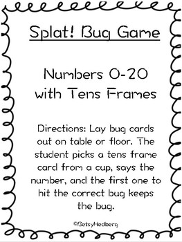 Splat Bug Game - Numbers 0-20 with Tens Frames
