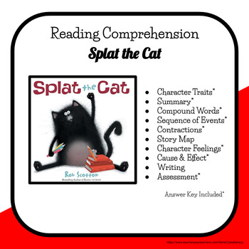 Back to School - Splat the Cat Reading Activity Packet & A