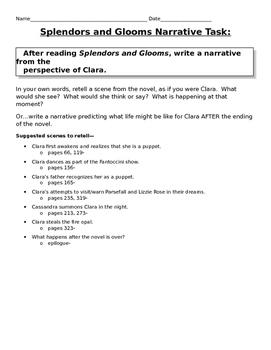 Splendors and Glooms Writing Narrative Task + Graphic Organizers
