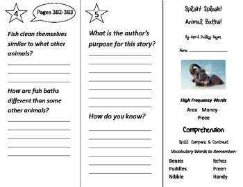 Splish Splash Animal Baths Trifold - Treasures 2nd Grade U