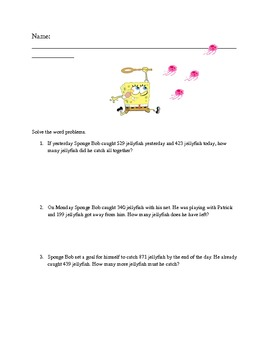 Spongebob Word Problems