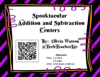 Spooktacular Halloween Addition and Subtraction Centers fo
