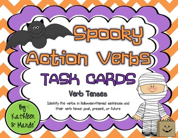 Spooky Action Verbs: Task Cards & Posters