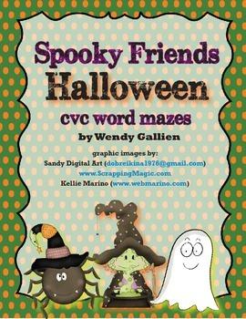 Spooky Friends Halloween CVC Word Mazes