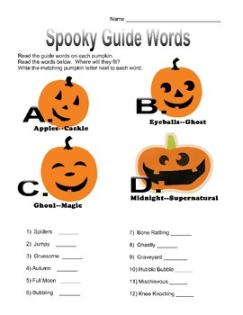 Spooky Guide Words