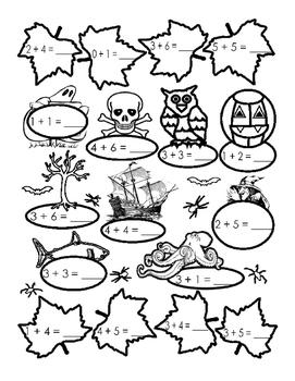 Spooky Halloween Autumn Math Up to 10 Addition Fun Stuff P