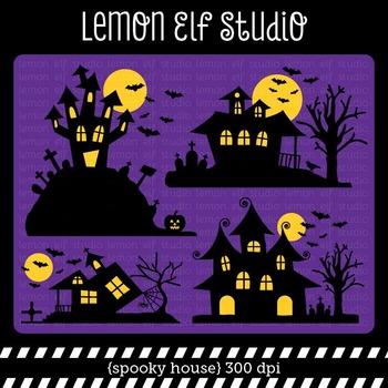 Spooky House-Digital Clipart (LES.CL48)